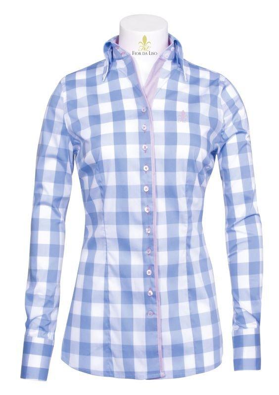 Koszula RAPHAELA damska - FIOR DA LISO - light blue big check
