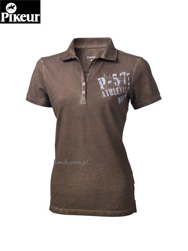 Koszulka polo BELINA - Pikuer - shitake brown - damska