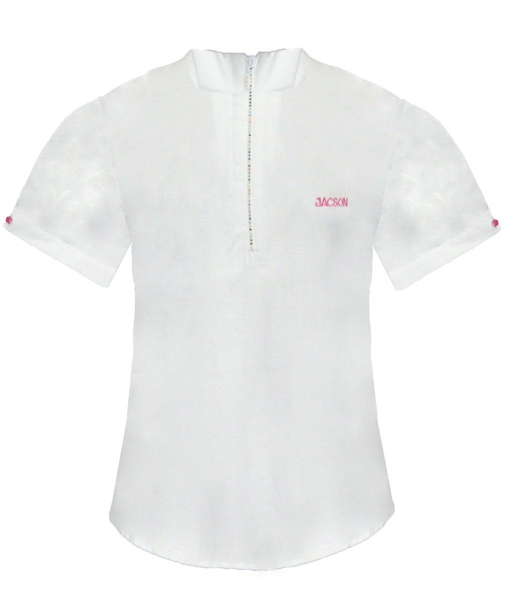 Koszula konkursowa z krótkim rękawem damska - Jacson - biały/różowy
