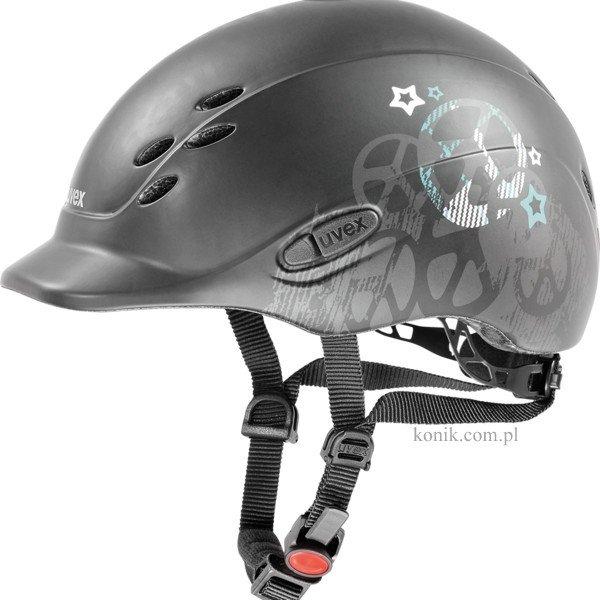 Kask UVEX model ONYX PEACE dziecięcy - black mat/petrol