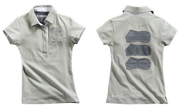 Koszulka polo bawełniana damska - Equi-Theme - light grey