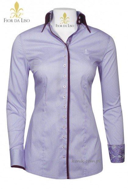 Koszula EMANUELA II damska - FIOR DA LISO - lavender check