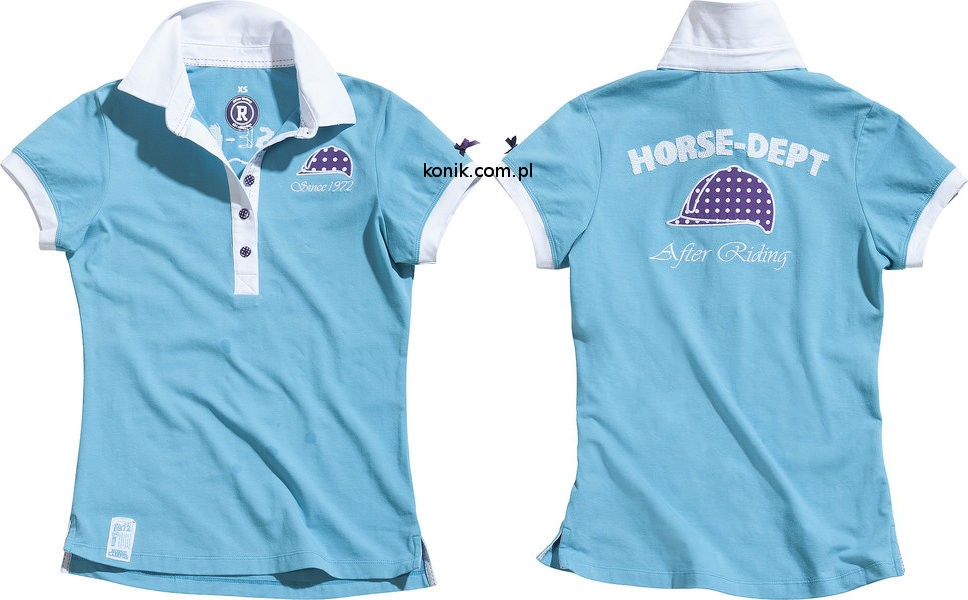 Koszulka polo HORSE DEPT - EKKIA - turkusowy